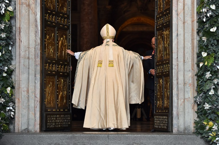 Pope Francis I opening Holy Door - St. Peter's Basilica in Vatican City