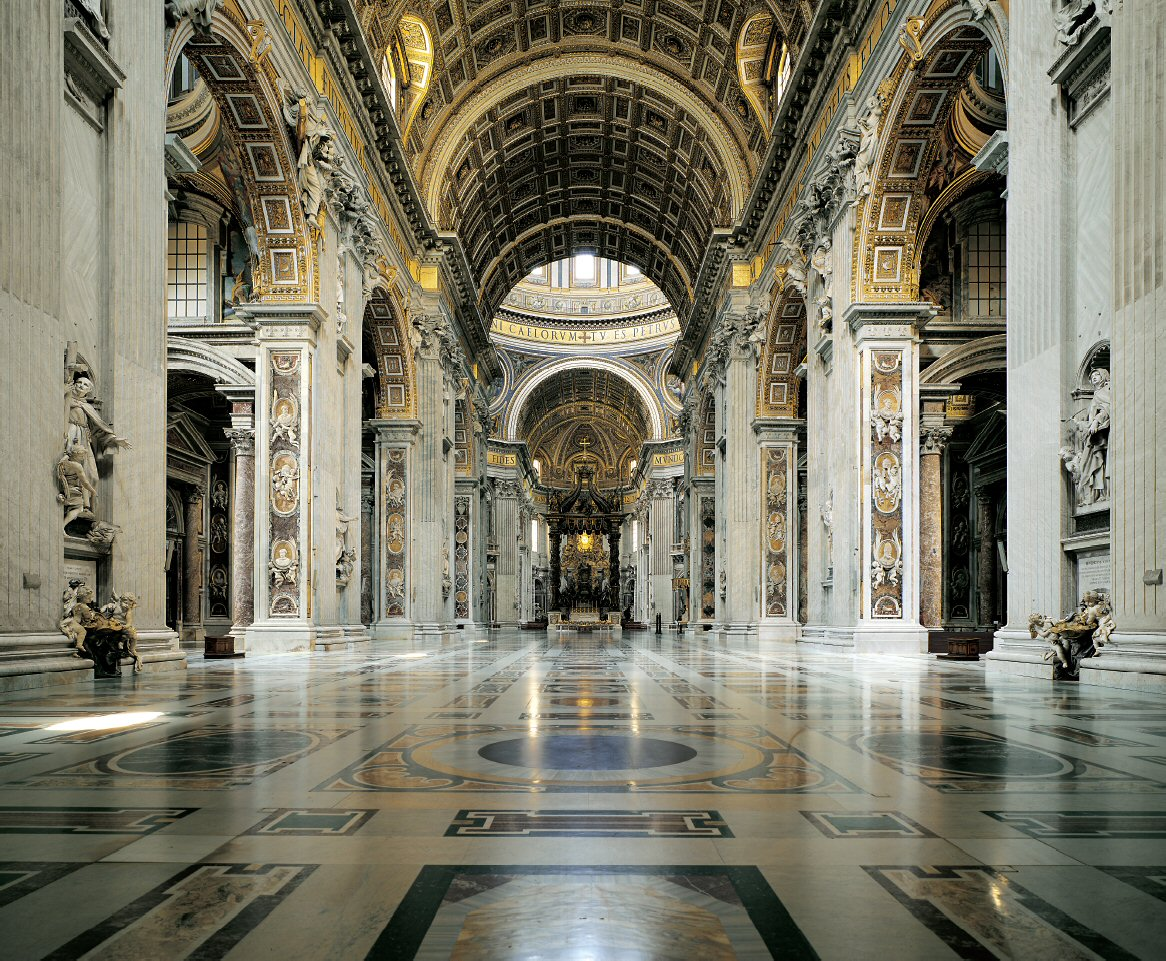 Nave and Aisles in St. Peter's Basilica - looking east - visit-vaticancity.com